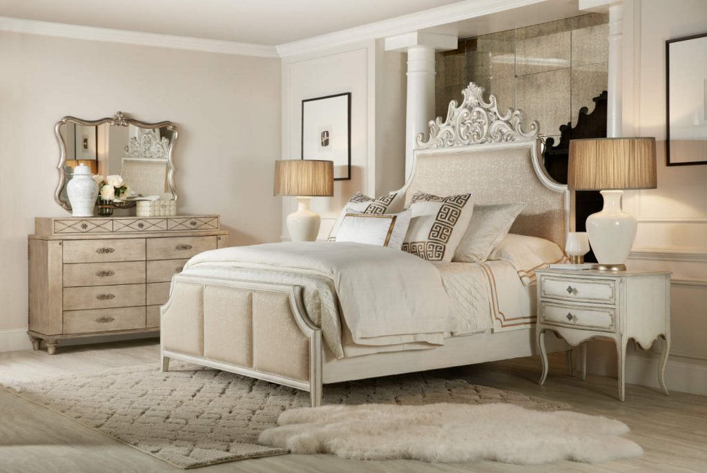 Hooker Furniture Sanctuary Collection Anastasie Upholstered Bed Room Scene
