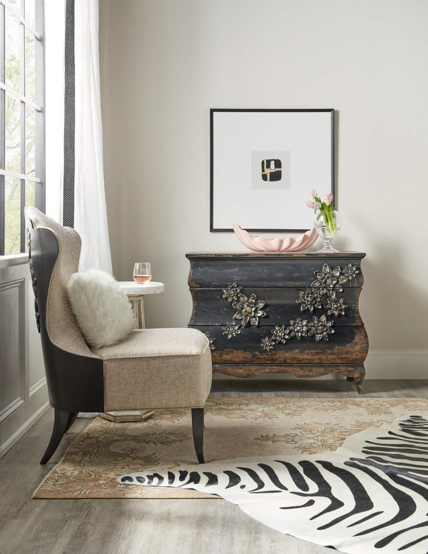 Hooker Furniture Sanctuary Collection Charmant Bachelorette Chest, Belle Fleur Slipper Chair